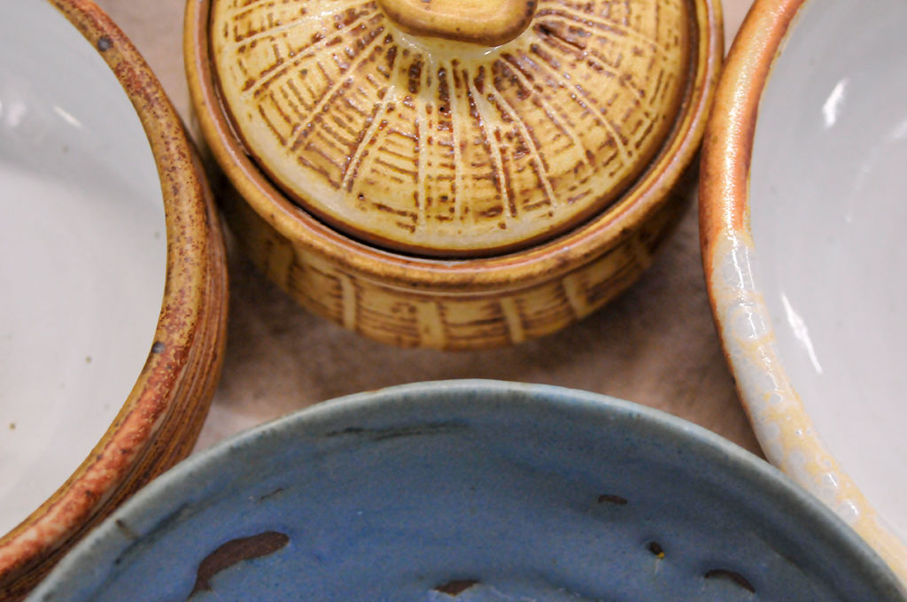 Assorted bowls were on display at the semi annual pottery sale on Thursday