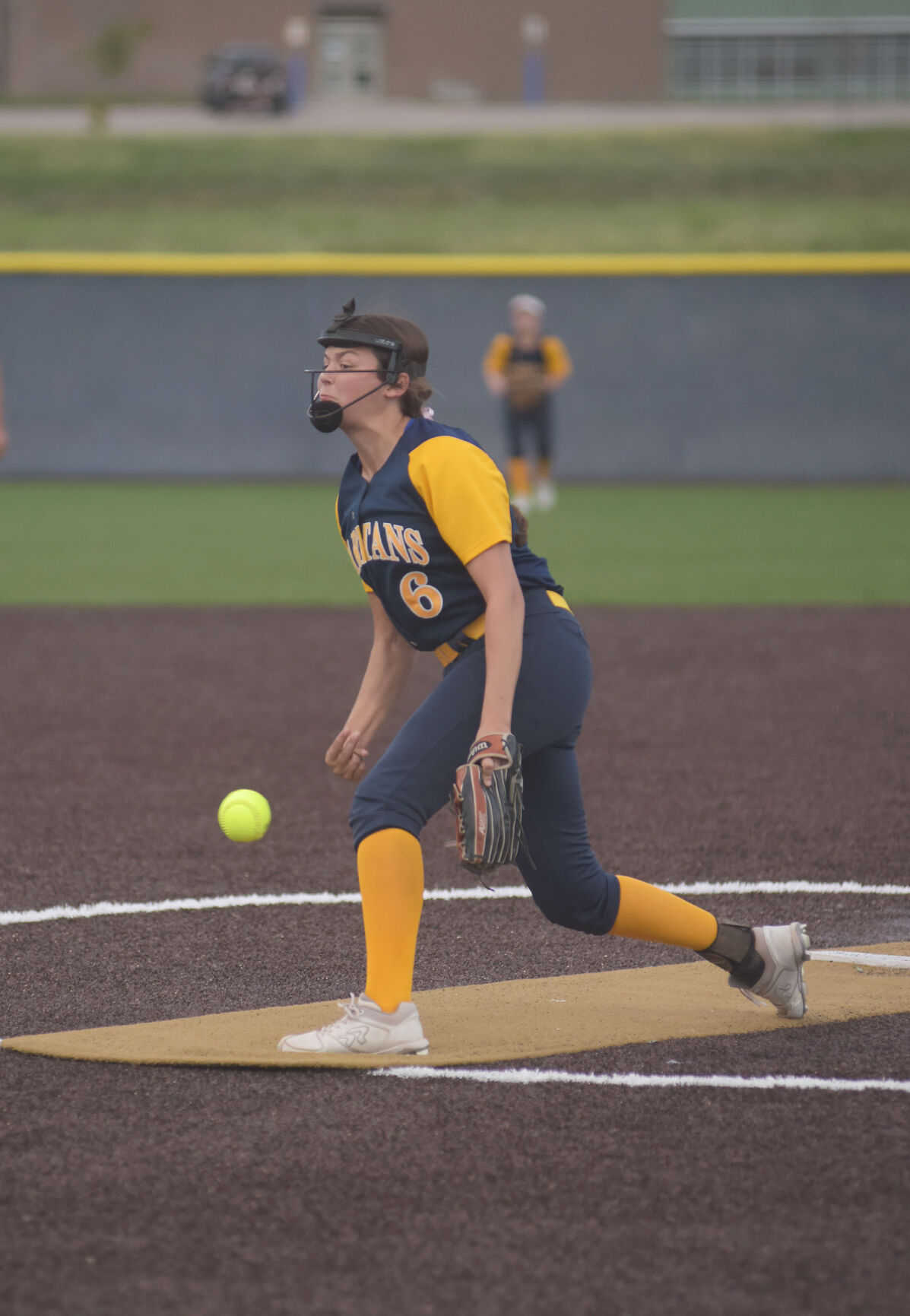 Battle High School pitcher Brooke Nutter pitches