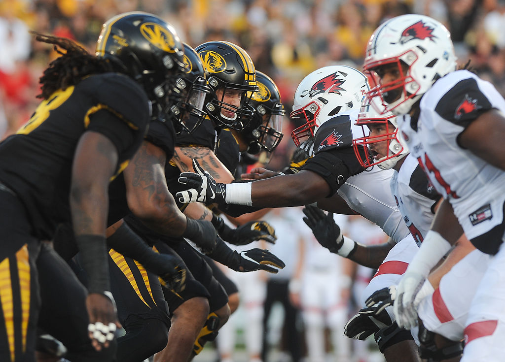 Missouri's defensive line clashes with the offensive line of SEMO