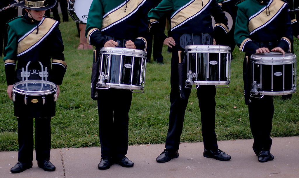 Members of the Rock Bridge drumline wait for a cue