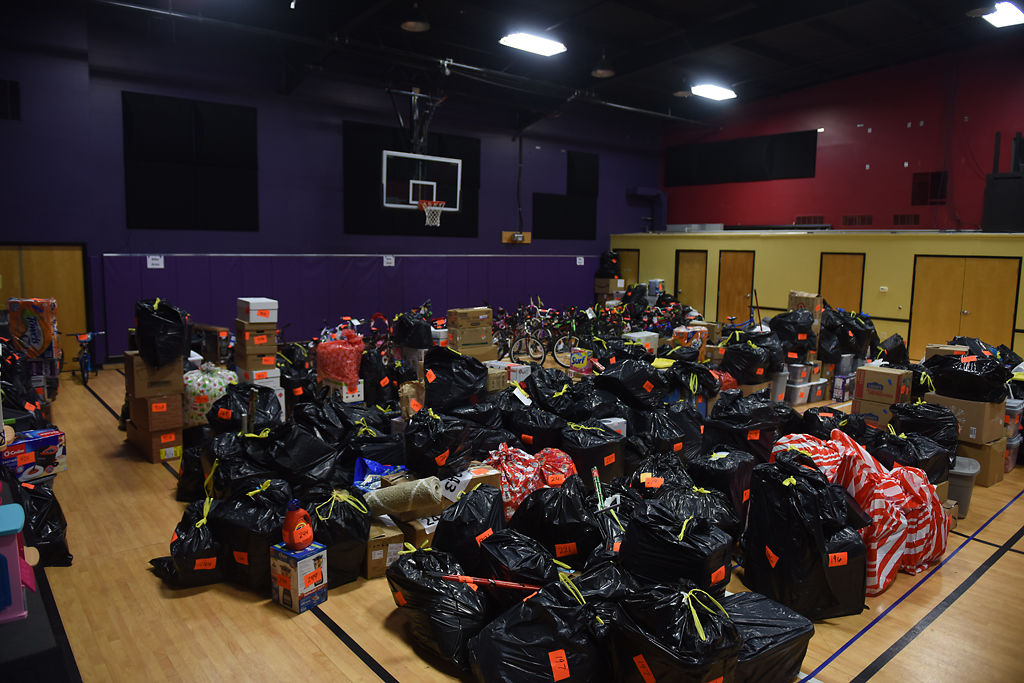 The gym at Woodcrest Church is filled with gifts to be given away