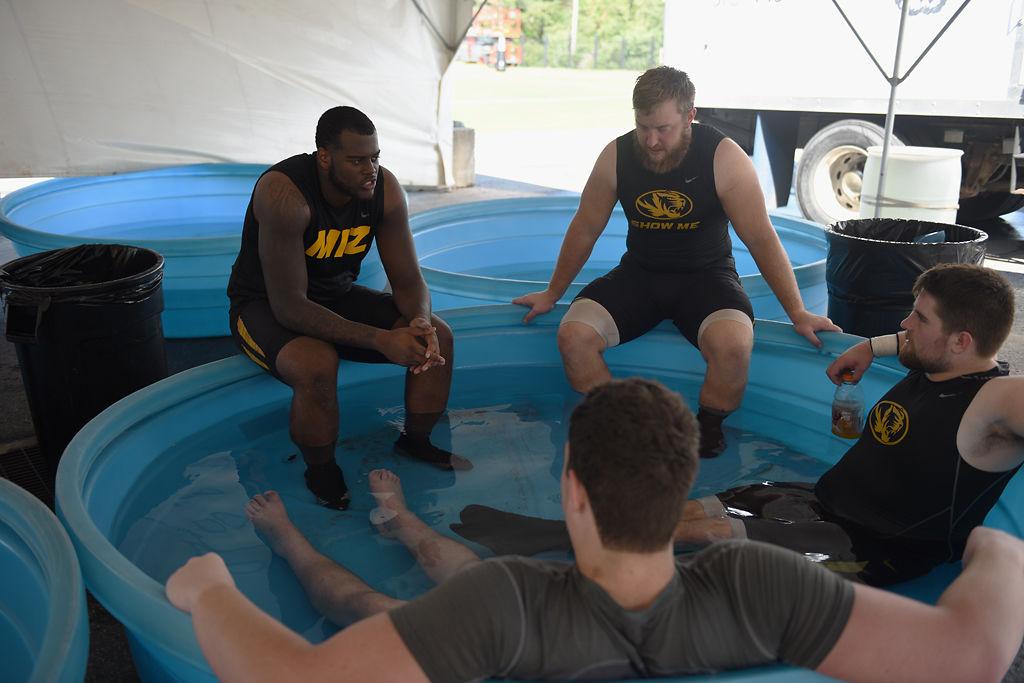 MU football players utilize the ice baths