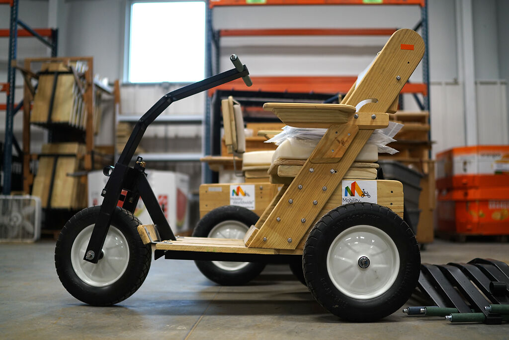 A handmade wheelchair has been assembled and placed in the plant last Tuesday