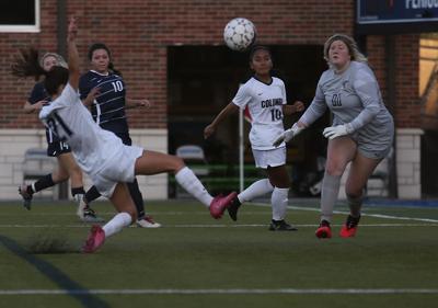 Columbia College freshman Emilia Zolesio takes a shot on goal (copy)