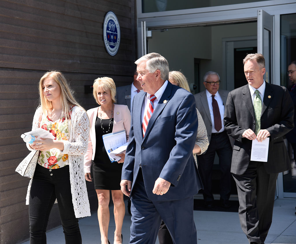 Lt. Gov. Mike Parson exits the Boone County Emergency Communications Center