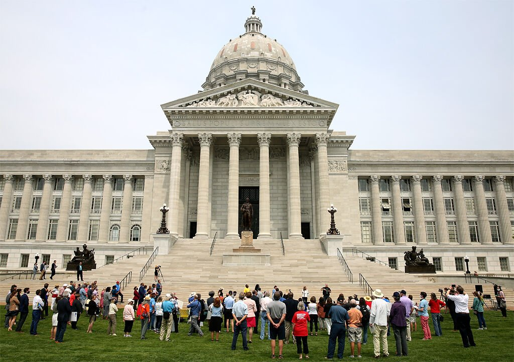 Around 100 people attended the Rally to Save Missouri Healthcare