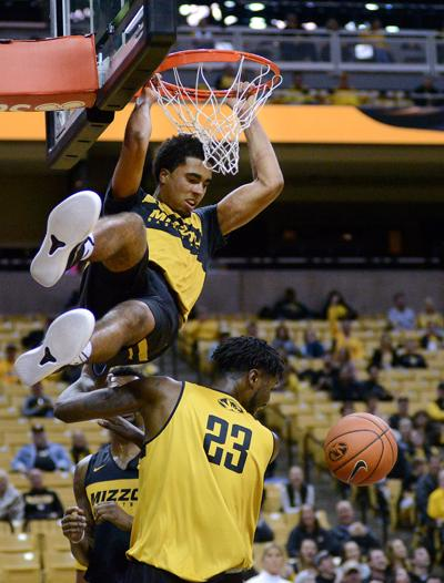 Jontay Porter dunks the ball during Mizzou Madness (copy)