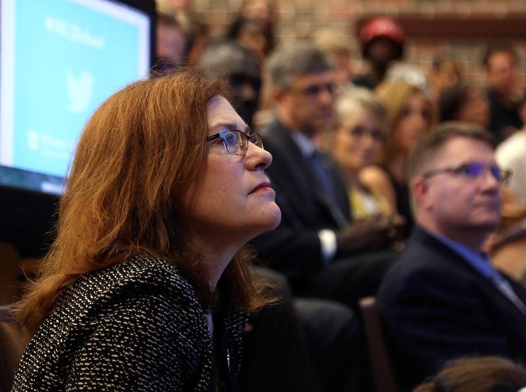 Provost Stokes listens to Dean Kurpius announce new diversity program