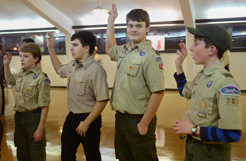 Troop 707 members recite the Scout Oath
