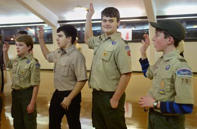 Troop 707 members recite the Scout Oath