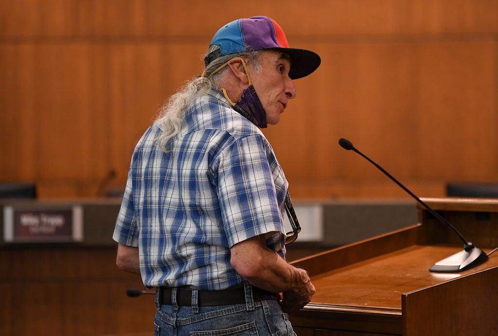 Local activist Mark Haim speaks in favor of the proposed mask ordinance
