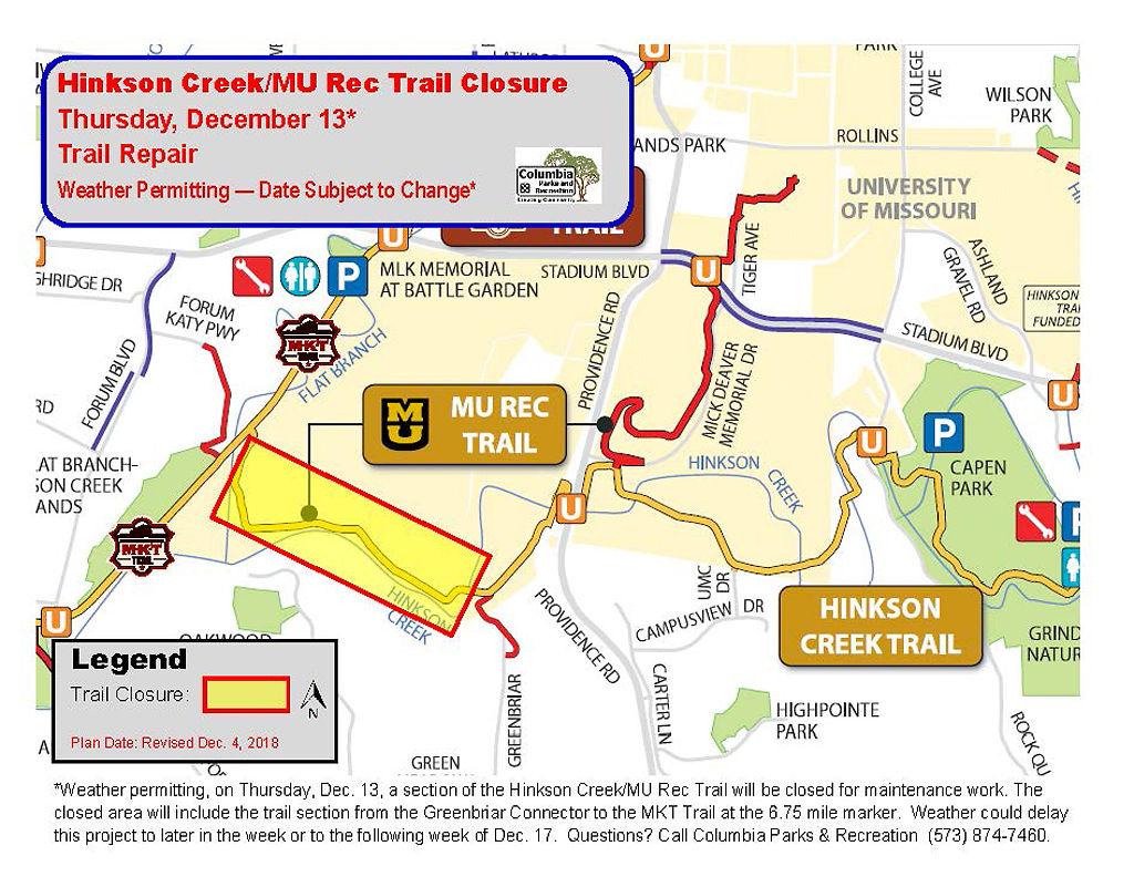 Hinkson Creek trail closure map