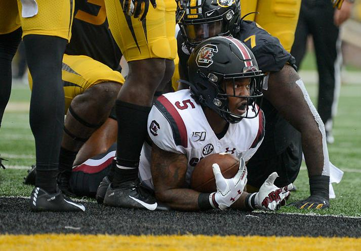 South Carolina RB Rico Dowdle lays in the end zone (copy)