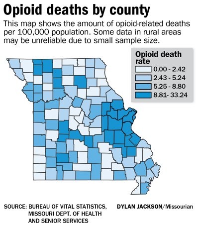 Opioid deaths by county