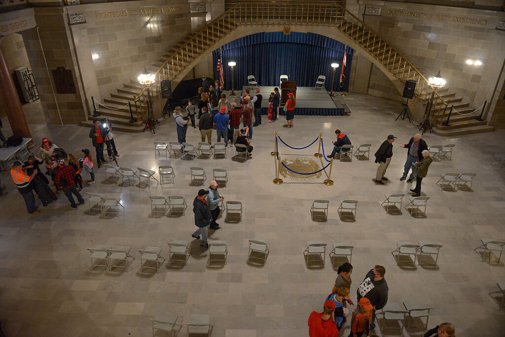 After speeches from Secretary of State John Ashcroft and Sen. Cindy O'Laughlin, Trump supporters file out of the rotunda