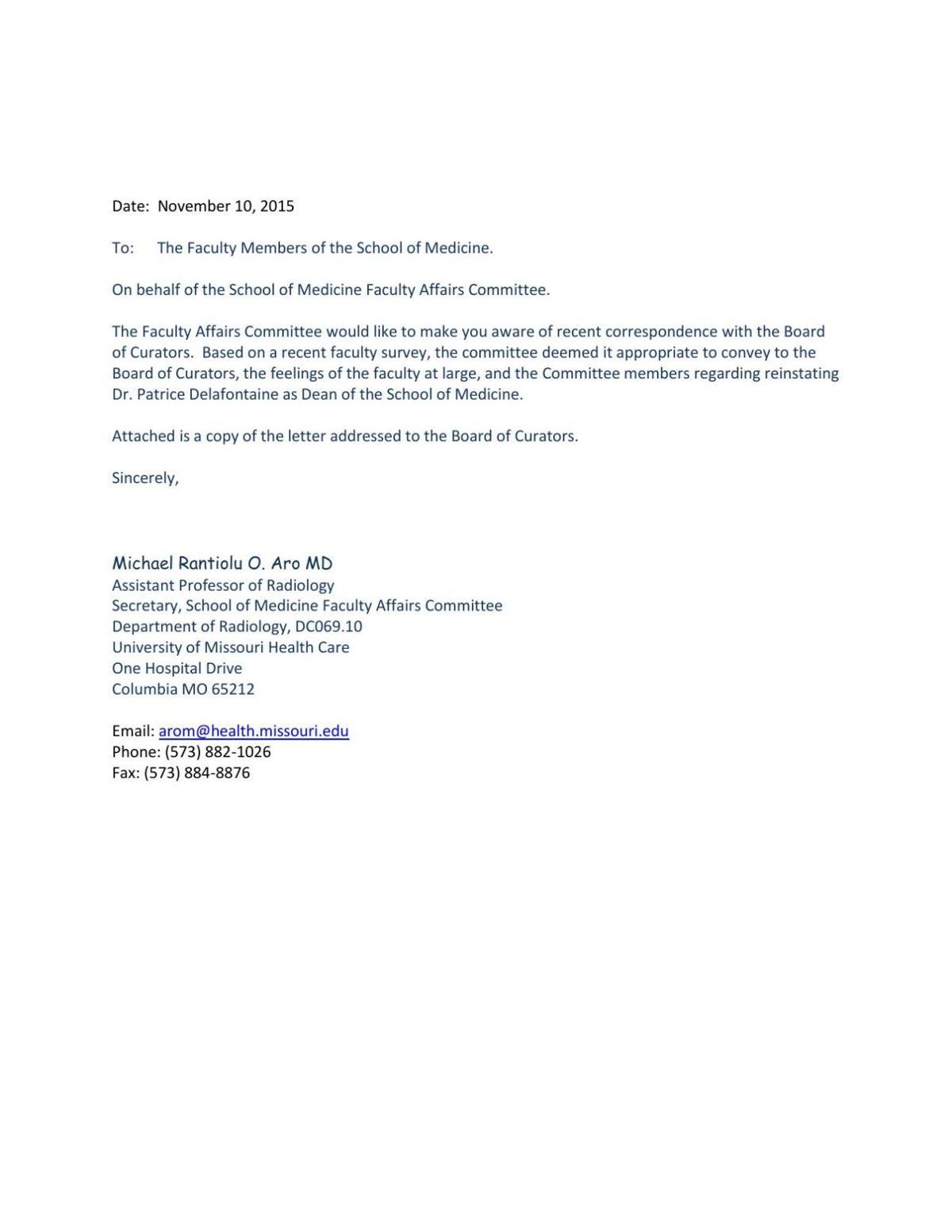 Faculty Call For Former Mu School Of Medicine Deans Reinstatement
