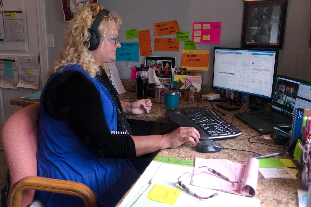 MU Assistant Vice Chancellor for Technology Advancement Lisa Lorenzen works at home