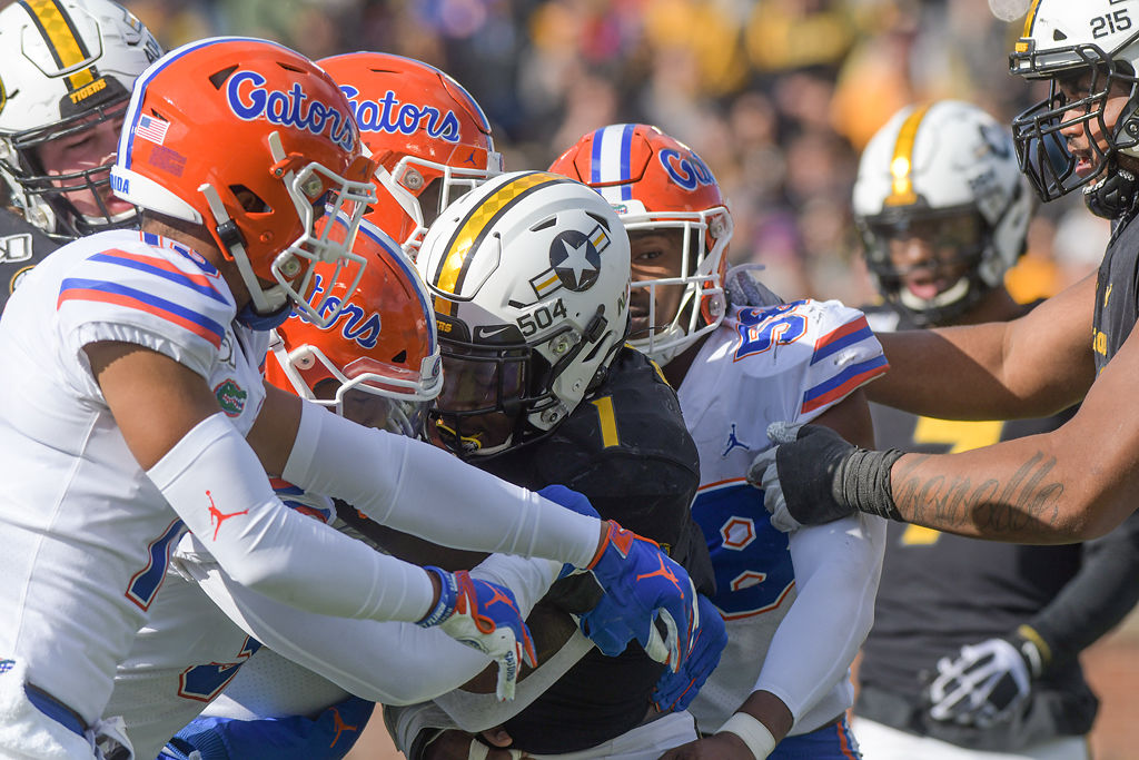 Missouri running back Tyler Badie is stuffed at the line of scrimmage