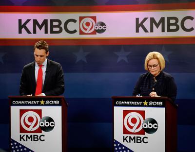 Missouri U.S. Senate candidates Claire McCaskill, right, and Josh Hawley prepare for debate
