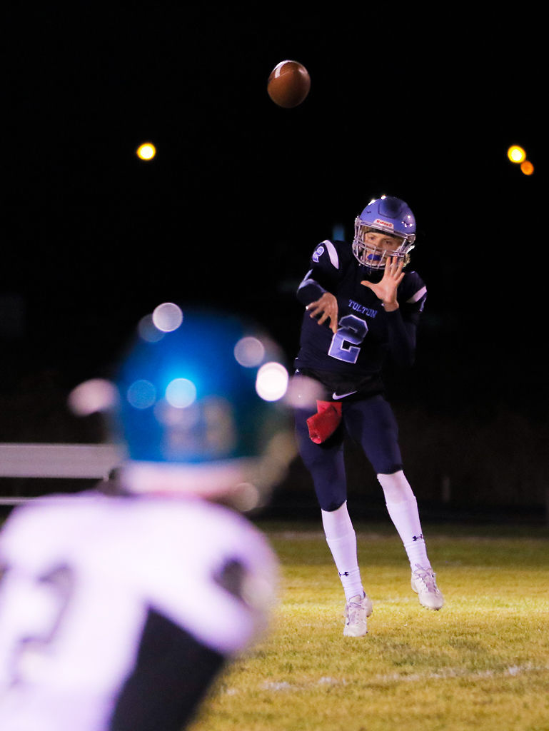 Tolton quarterback Gabe Pfenenger tosses the ball