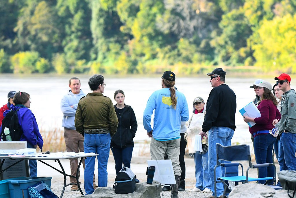 Members from Job Point gather for the program information Wednesday by the side of Missouri River