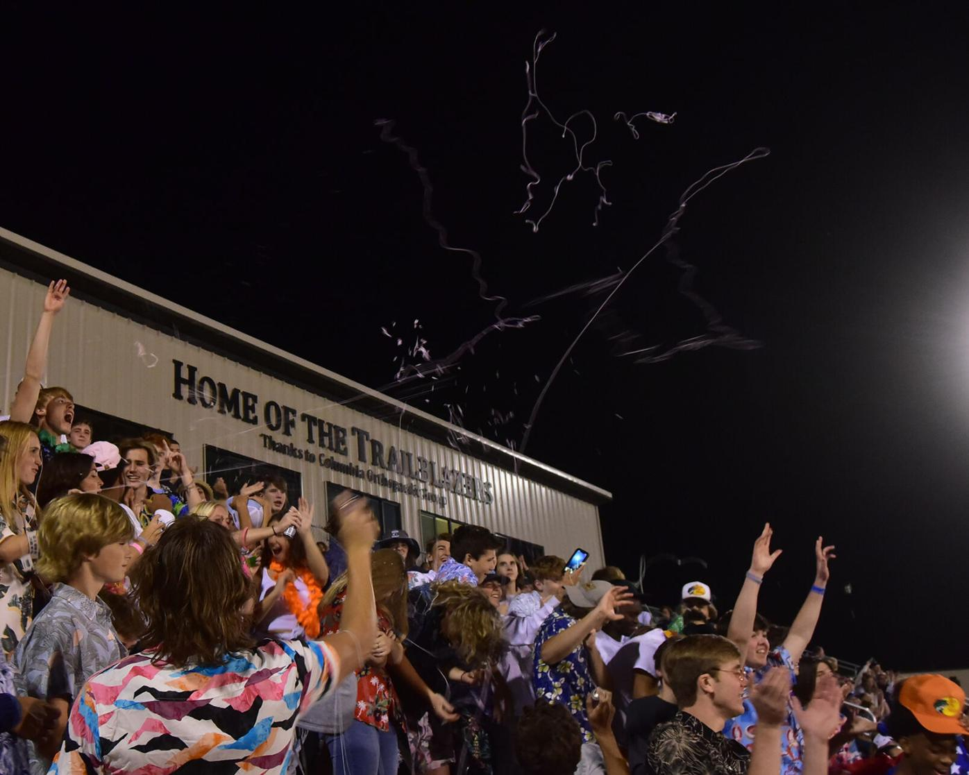 Tolton Blazers student section sprays silly string on Friday in Columbia