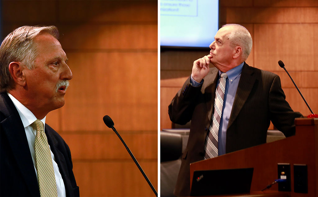 Jim Palenick and John Glascock answer questions at a city manager candidate forum
