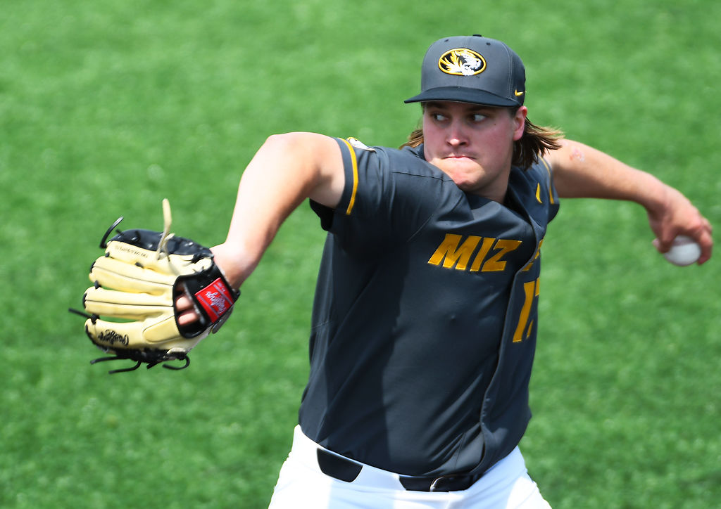 Missouri's TJ Sikkema throws a pitch against the Kentucky Wildcats