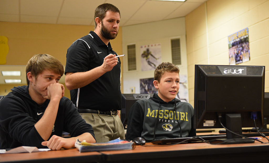 Students at Fayette High School work on final projects