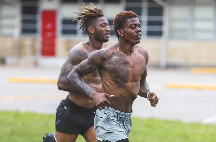 Cjay Boone works out in Houston
