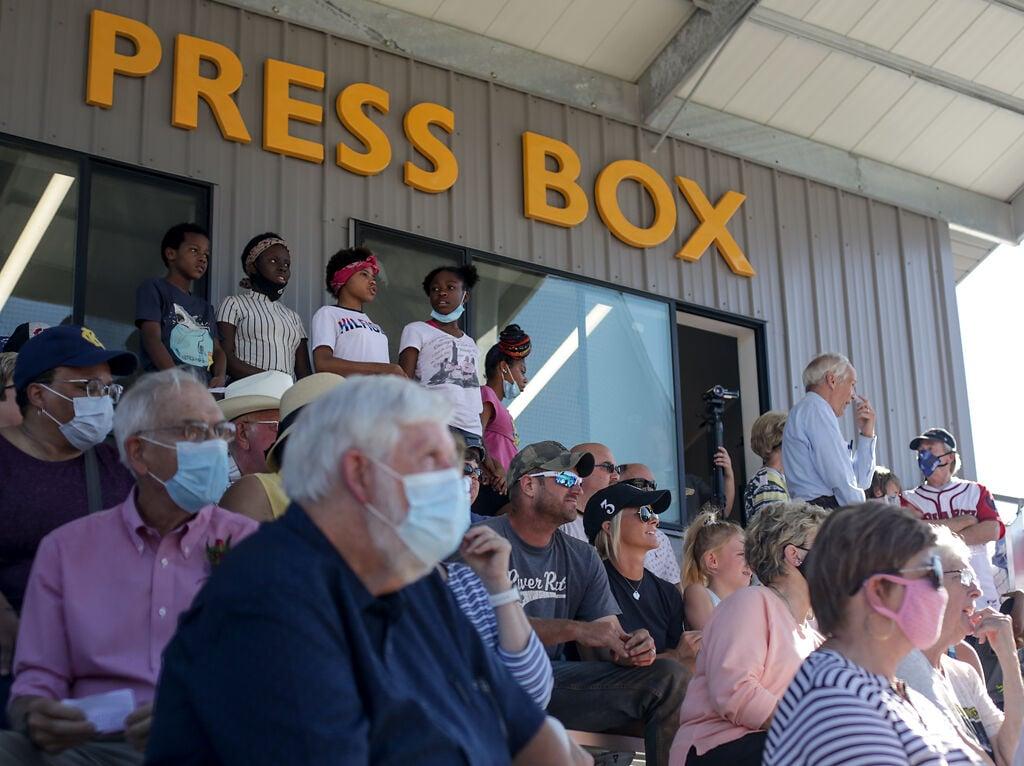 Spectators fill the newly named John Donaldson Field ahead of a dedication