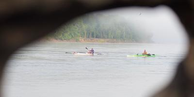 MR340 paddlers make a stop at midpoint en route to St. Charles