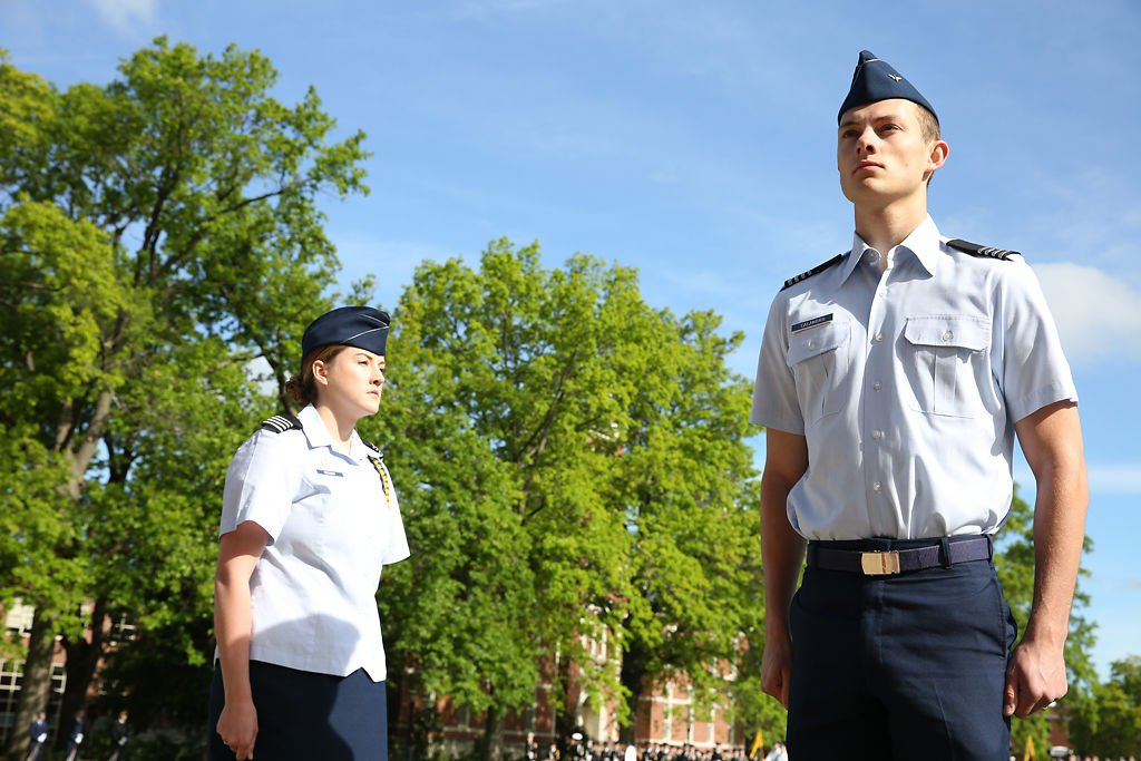 Air Force ROTC cadets Lindsay Wright, left, and Daniel Calandro are recognized