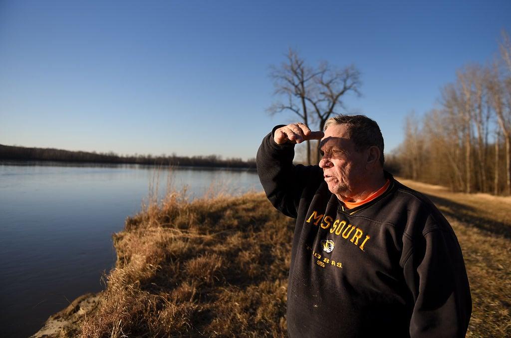 John Sam Williamson looks out onto the Missouri River