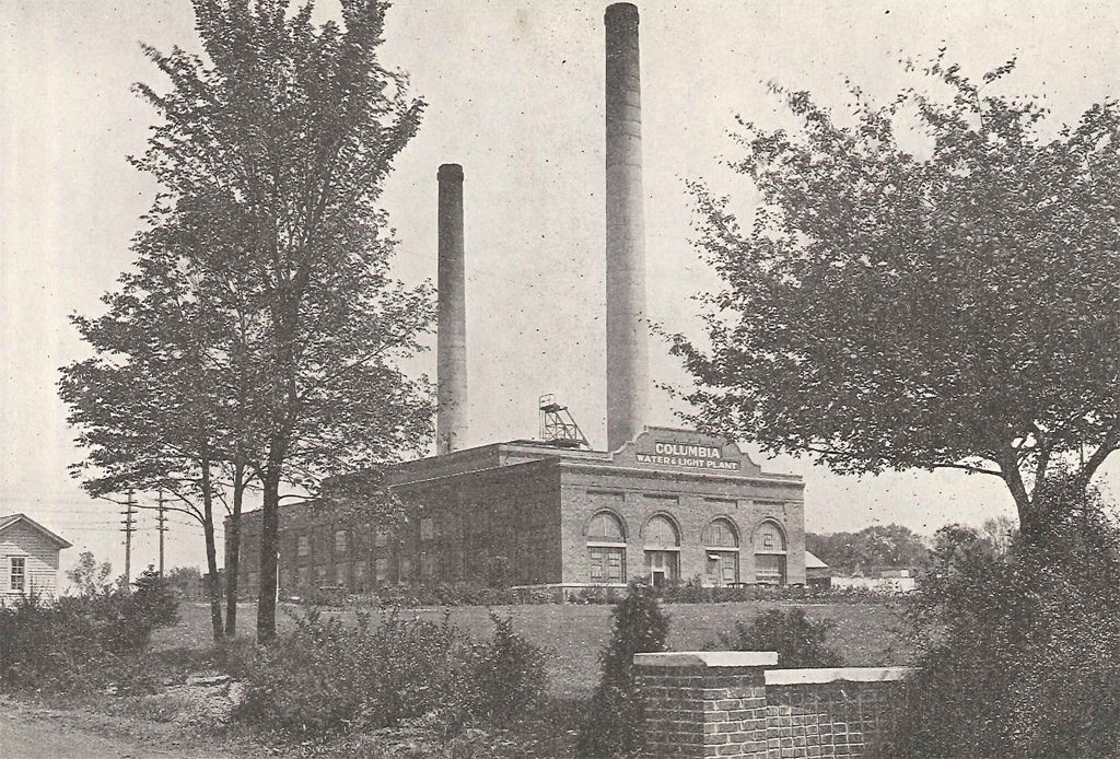 The Columbia Municipal Power Plant stands in 1933