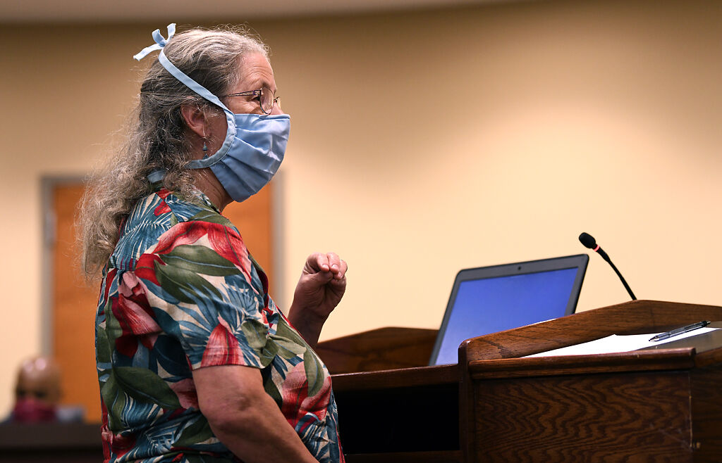 Elizabeth Allemann addresses the Columbia School Board on Monday at the board's regular meeting.