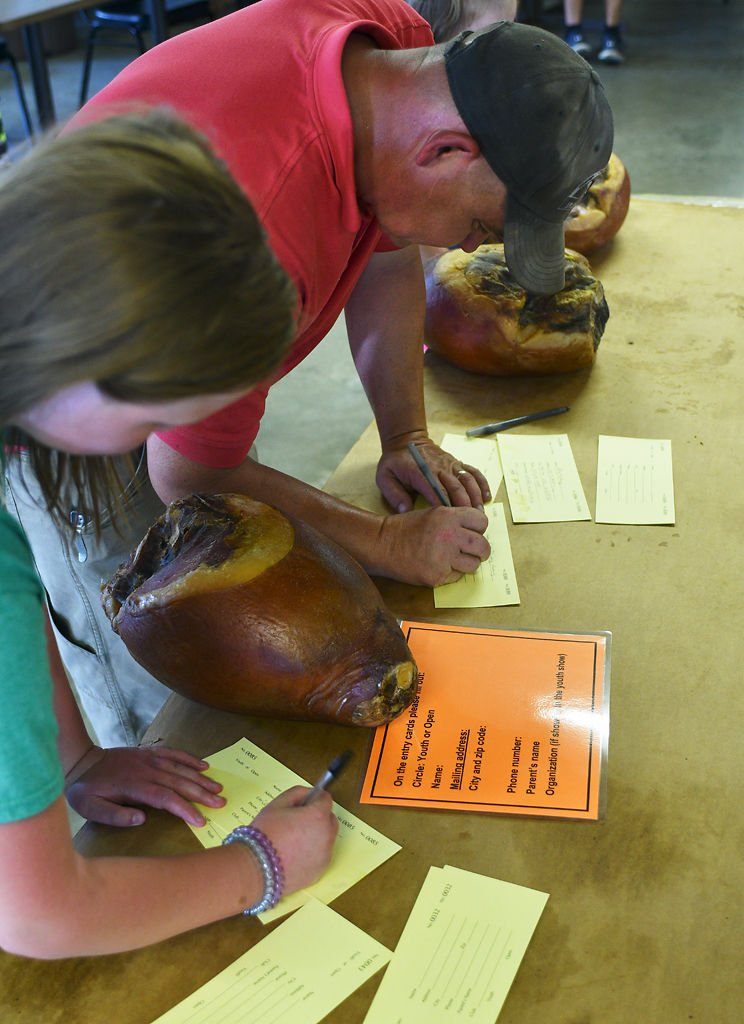 Seth Frerking and his daughter, Allie Frerking, 7, enter their hams in the 2019 Ham Show at the Boone County Fair