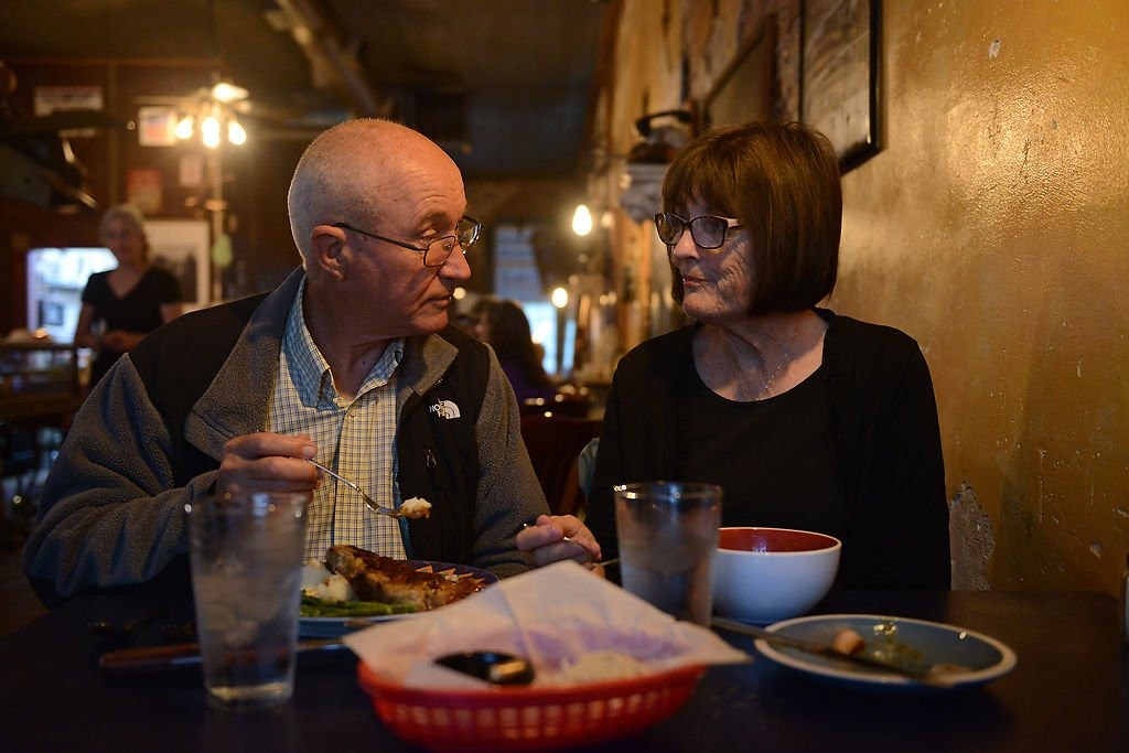 Couple eats dinner at Abigail's in Rocheport