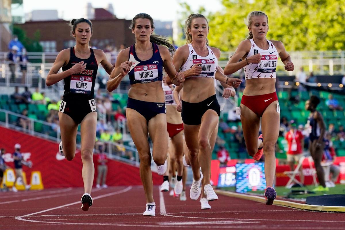 Karissa Schweizer runs in the second heat