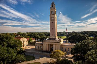 The Memorial Tower sits on Louisiana State University's campus