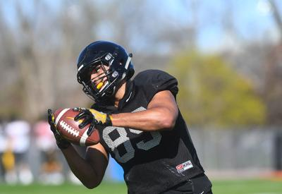 Missouri tight end Brendan Scales catches a pass (copy)