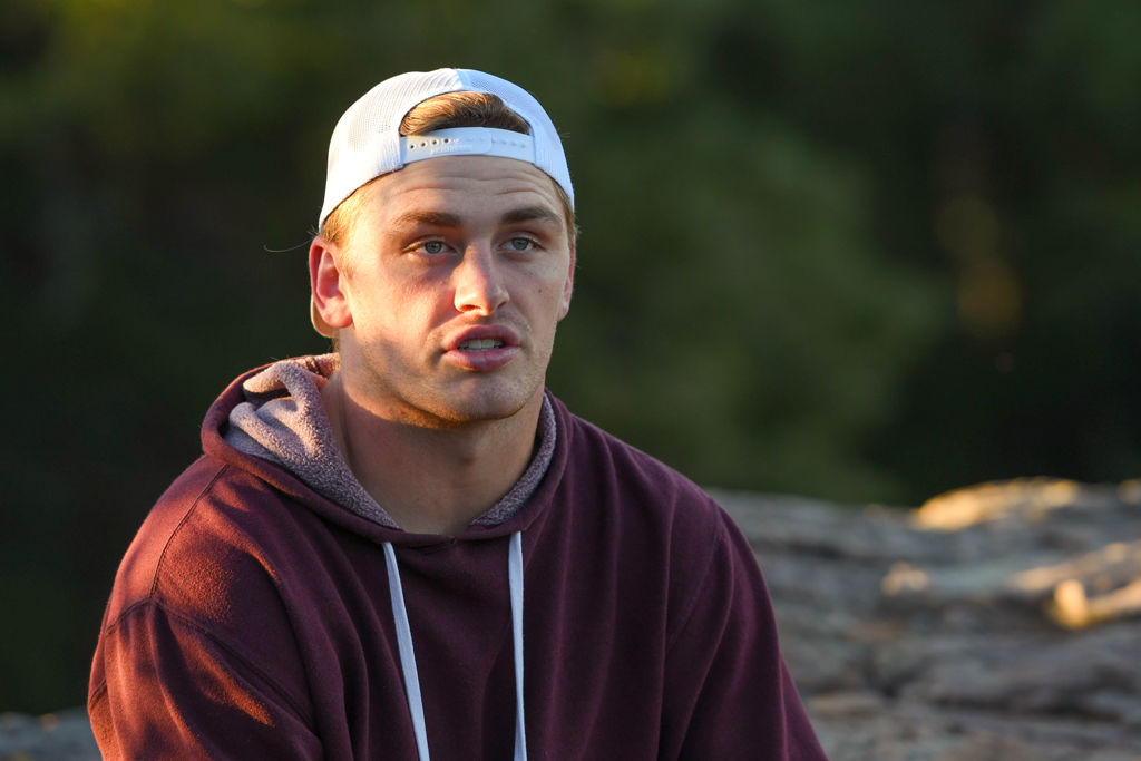 Missouri LB Cale Garrett talks during a hike