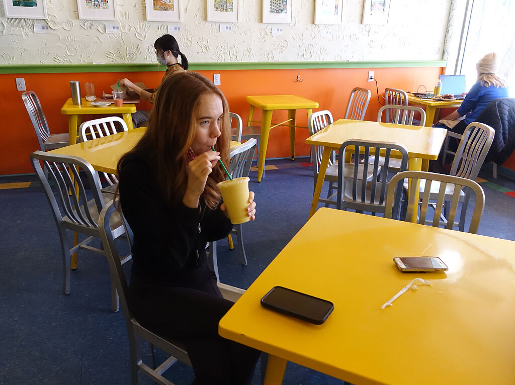 Mackenzie McCarty drinks a smoothie
