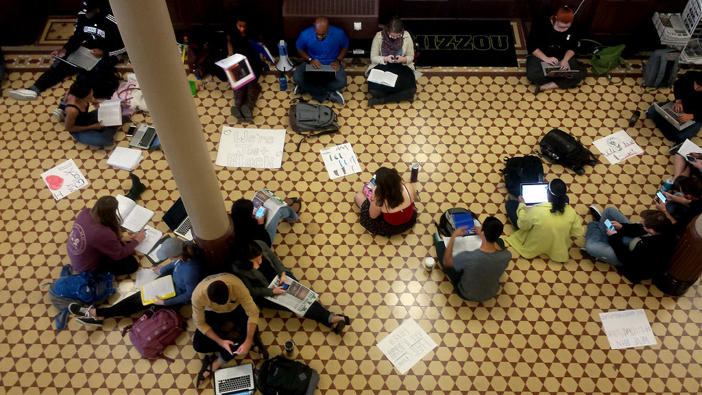 MU students participate in a study-in at Jesse Hall