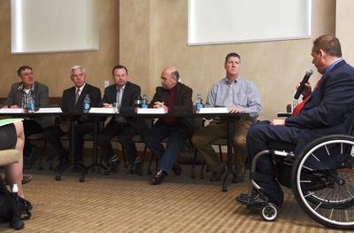 Municipal election candidates listen during a Q&A session during the Columbia Disabilities Commission forum