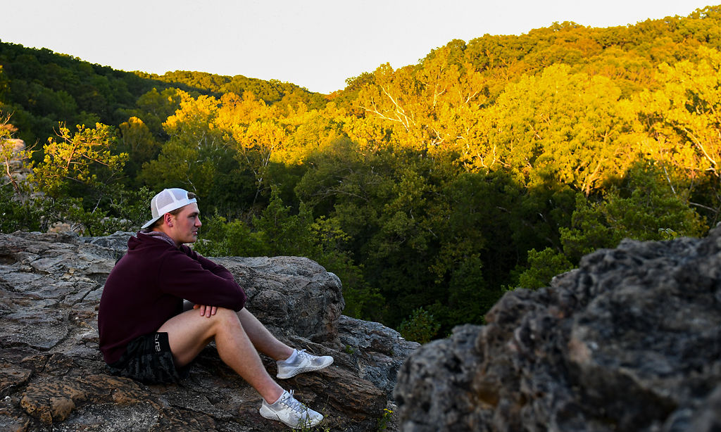 Missouri LB Cale Garrett sits during a hike