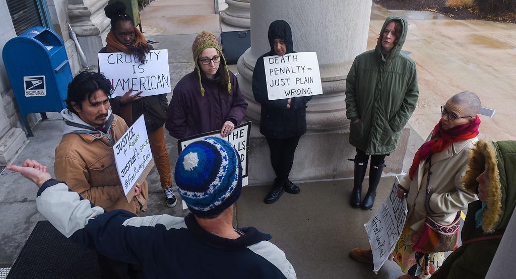 Gathered activists discuss