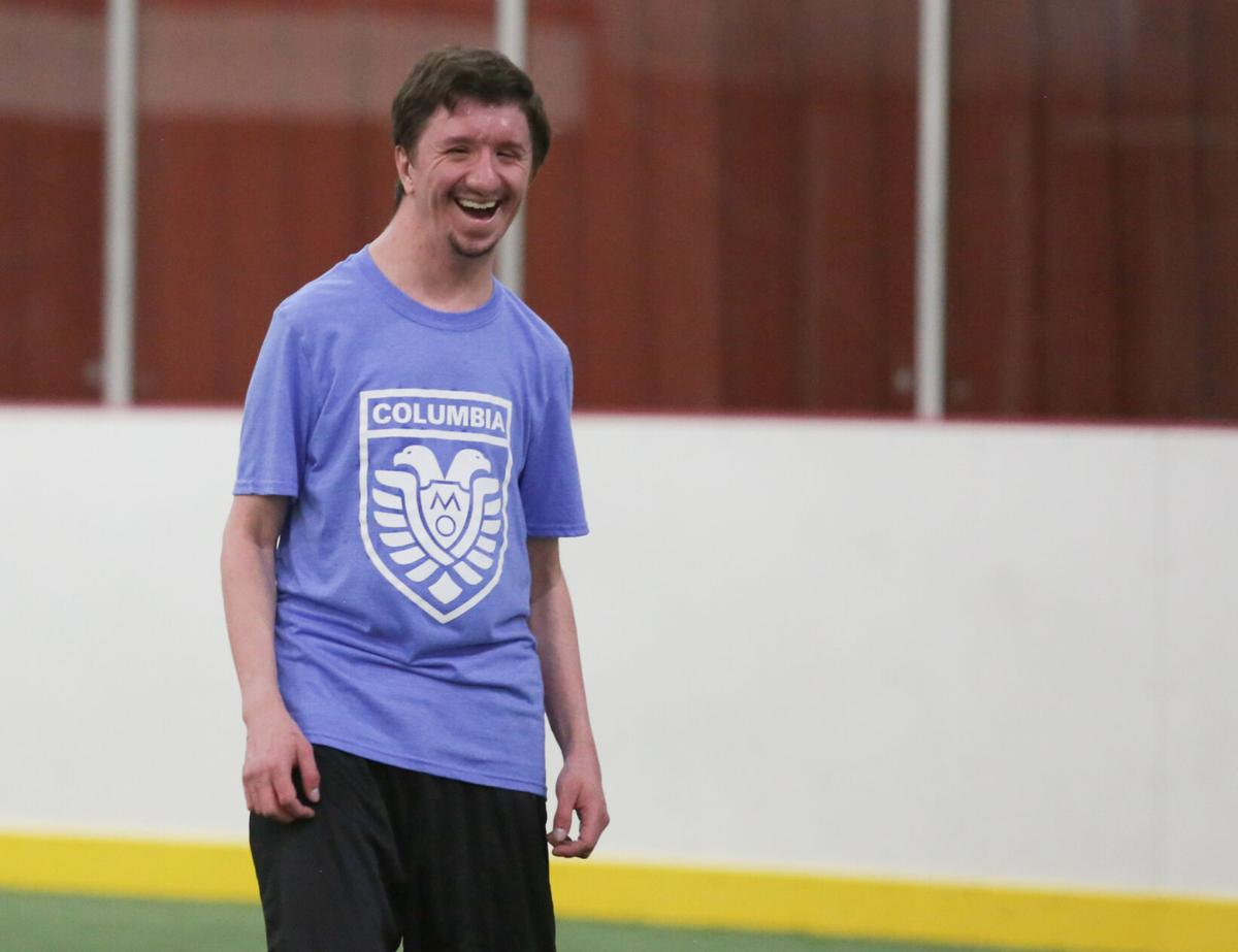 Matthew Frappier laughs during practice