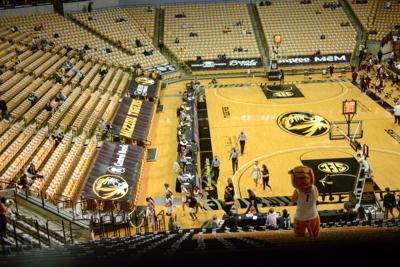 Missouri women's basketball players leave the court at half-time