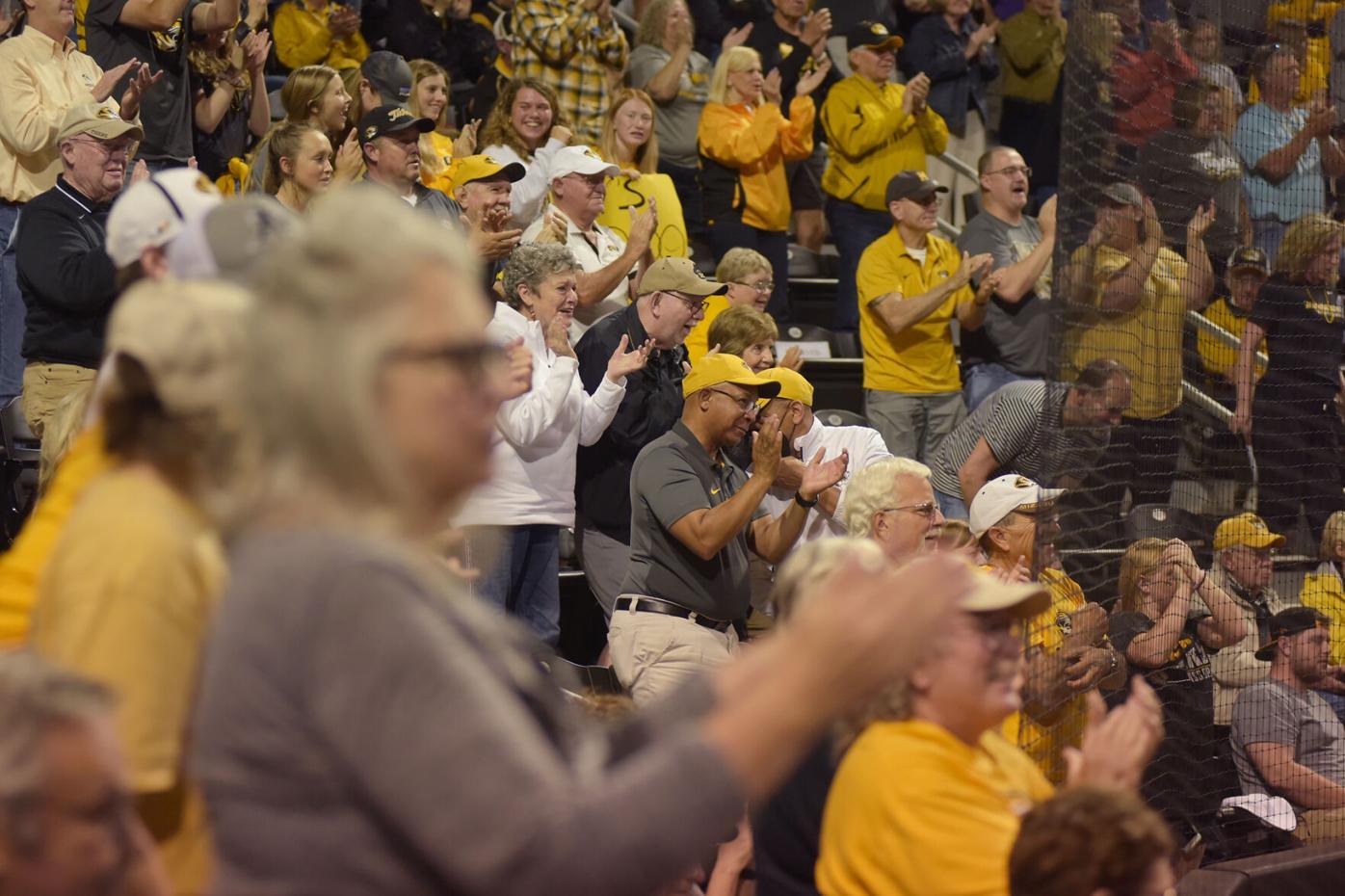 The crowd erupts as Missouri infielder Kimberly Wert crosses home base (copy)